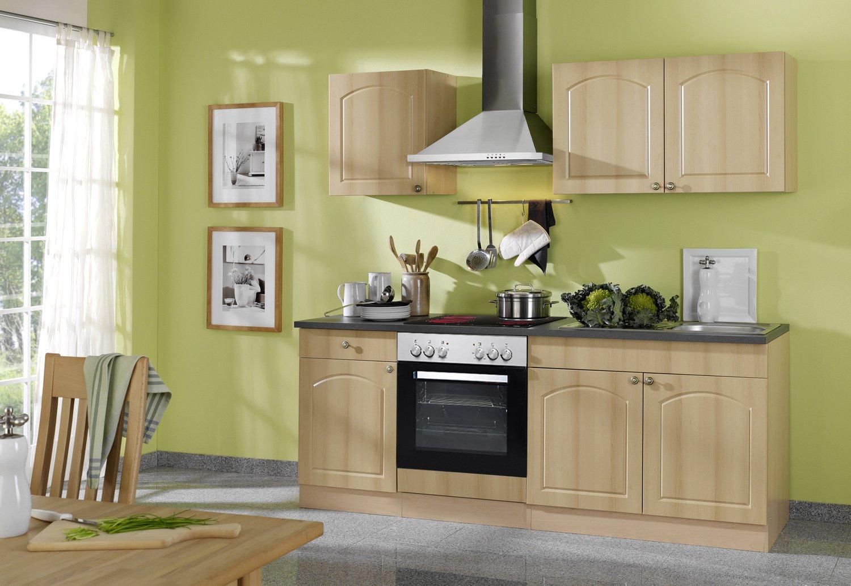 Held Möbel 689.6040 Küchenzeile 210 in Buche /Anthrazit mit E-Geräten