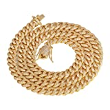 PY Bling 8mm Mens Iced Out Hip Hop Miami Cuban Link Chain Choker 14K/18K Gold White Gold Plated CZ Necklace/Bracelet 8.5