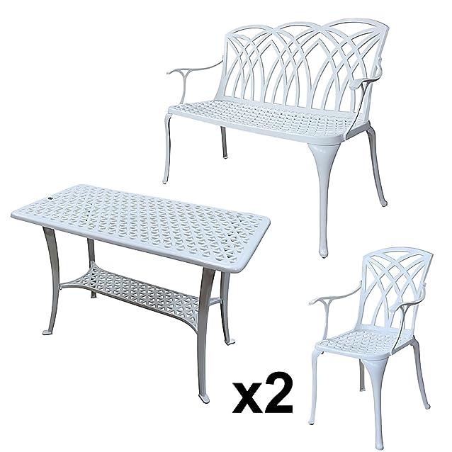 Lazy Susan - Tavolo da appoggio per barbeque, 1 panchina APRIL e 2 sedie coordinate - Mobili da giardino in alluminio pressofuso, colore Bianco