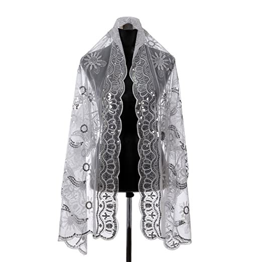 Remedios Boutique Women's Sequined Wedding Shawl Wrap