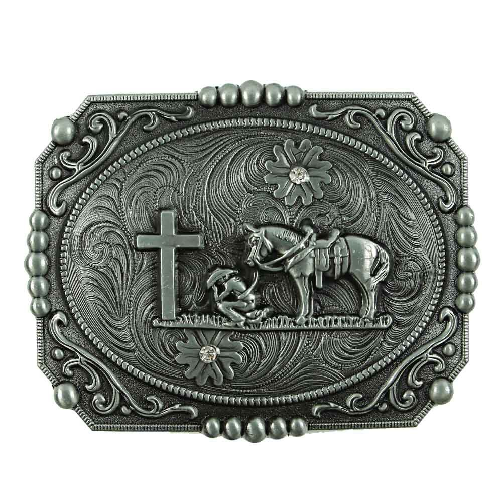 Senmi Vintage Cowboy Prayer Belt Buckles- with Senmi Box Gift Wrapped 0