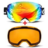 Odoland Magnetic Interchangeable Ski Goggles with 2 Lens, Large Spherical Frameless Snow Goggles for Men & Women, OTG and UV400 Protection (Color: Goggles with 2 Lens)