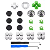 eXtremeRate Magnetic Metal Bullet Buttons Dpads, Aluminium Thumbstick Joystick Adustable Height, Replacement Parts for Playstation 4, PS4 Slim,PS4 Pro Controllers (31 in 1) (Color: 31 in 1)