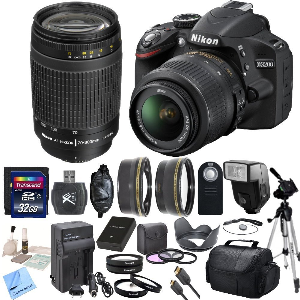 Nikon D3200 24.2 MP CMOS Digital SLR with 18-55mm f/3.5-5.6 AF-S DX VR NIKKOR Zoom Lens & Nikon 70-300mm f/4-5.6G AF Nikkor Lens & CS Premium Package: Includes Transcend 32GB SDHC Memory Card ..