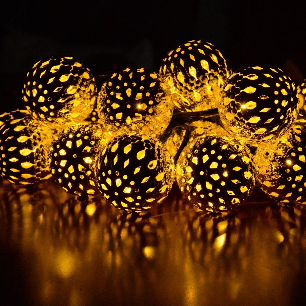 Dephen Solar Globe String Lights, Moroccan Ball String Lights Warm White,15ft 20 LED Fairy Orb Lantern Christmas Solar Powered String Lights for Outdoor Garden, Yard, Patio, Party, Home Decoration