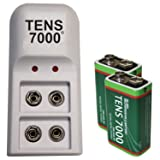 TENS 7000 Official Rechargeable 9v Batteries Kit - Includes NiMh/NiCd Charger and 2 Rechargable 9 Volt Batteries - TENS Unit Battery Pack