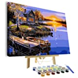 VIGEIYA DIY Paint by Numbers for Adults Include Framed Canvas and Wooden Easel with Brushes and Acrylic Pigment 15.7x19.6inch (Village) (Color: village, Tamaño: 15.7*19.6in)