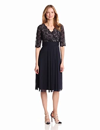 Jessica Howard Women's 3/4 Sleeve Surplus Bodice Ruched Waist Dress, Navy, 6