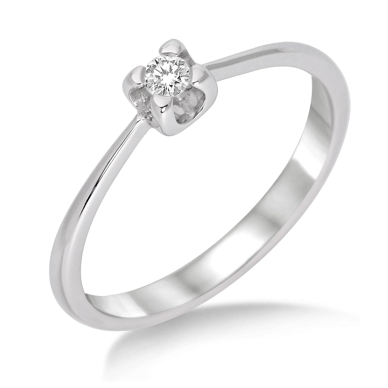 Miore Damen-Ring 375 Weißgold mit Brillant 0.05ct M9002R günstig bestellen