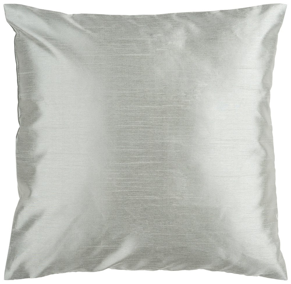 Surya HH-031 Hand Crafted 100% Polyester Silver Seafoam 18 x 18 Solid Decorative Pillow