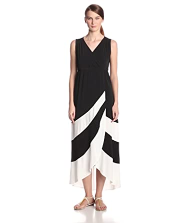 Sandra Darren Women's Sleeveless V Neck Maxi Dress, Black