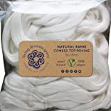 Ramie Fiber for Spinning Blending Dyeing. Fine Linen-like Vegan Combed Top (Color: White Ramie, Tamaño: 2oz Singles)