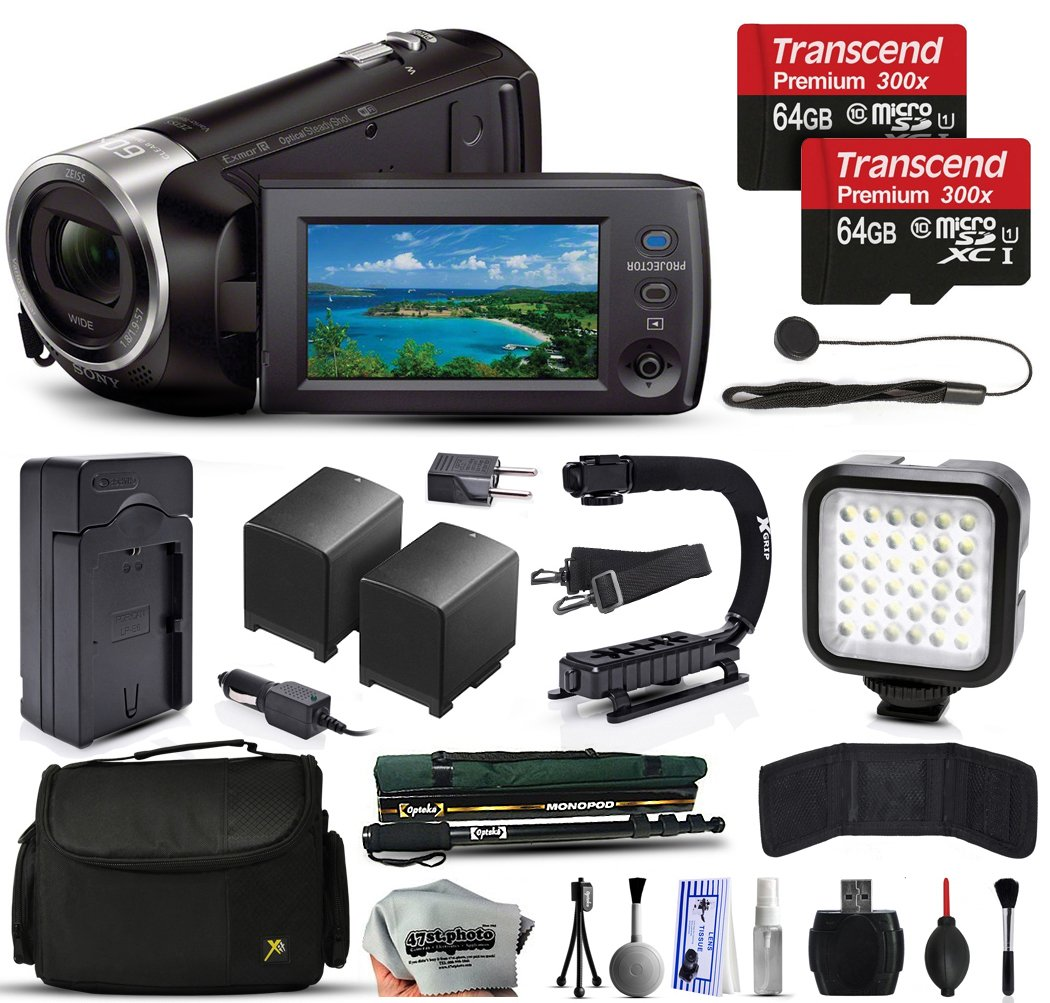 Sony HDR-PJ670 Full HD Handycam Camcorder Video Camera + 128GB Memory + Charger with Car/Euro Adapter + Action Stabilizer + LED Night Light + Large Case + Monopod + Dust Cleaning Kit + More