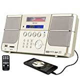 Portable cd player,Boombox DPNAO with headphones jack FM Radio Clock USB SD and Aux gold for kids laptop (Color: Gold)
