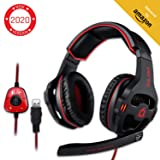 KLIM Mantis - Gaming Headphones - USB Headset with Microphone - for PC, PS4, Nintendo Switch, Mac, 7.1 Surround Sound - [ New 2020 Version ] - Noise Cancelling Gaming Headset (Color: Black)