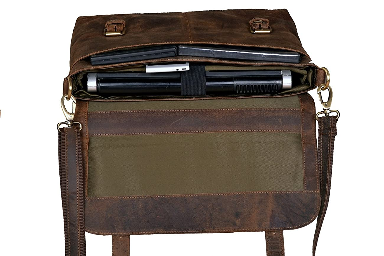 Handolederco Rustic Buffalo Hide Leather Messenger Laptop Shoulder Bag for Men and Women 4