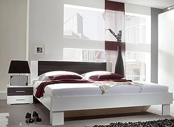 Dreams4Home Doppelbett 'Brina' - Ehebett, Bett 180 x 200 cm, Bett 160 x 200 cm, Jugendbett, Schlafzimmer, Gästezimmer, Jugendzimmer, ohne Matratzen,ohne Lattenrost, in weiß / schwarz kernnuss, Größe:160 x 200 cm
