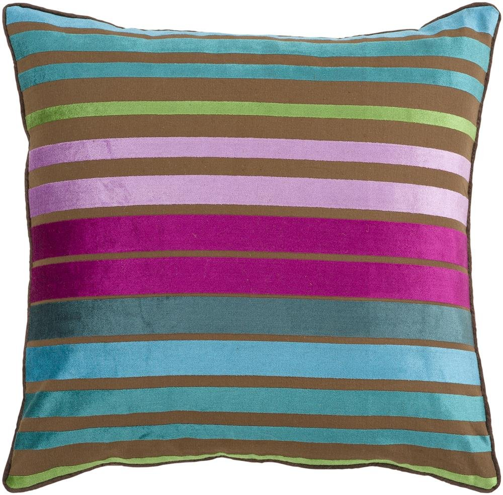 Surya JS-019 Hand Crafted 60% Viscose / 40% Cotton Teal 18 x 18 Striped Decorative Pillow