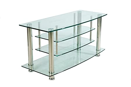 Home Source Industries TV4304 Modern TV Stand with Shelving for Components, Clear Glass
