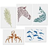 CODOHI 5 Packs Animals Stencils Zabra Peacock Feather Deer Dolphin Reusable Mylar Template - DIY Craft Stencils for Painting 8.3