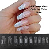 Coffin Nails 500pcs Half Cover Acrylic False Nail Tips Coffin Ballerina Nails 10 Sizes With Bag for Nail Salons and DIY Manicure(Half Cover, Clear) (Color: Clear, Tamaño: Half Cover)