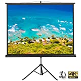 Yaheetech Portable Indoor Outdoor Projector Screen, 84 Inch Diagonal Projection HD 4:3 Projection Pull Up Foldable Stand Tripod,for Home Theater Cinema Party Office Presentation (Color: Black, Tamaño: 84