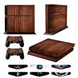 Skins for PS4 Controller - Decals for Playstation 4 Games - Stickers Cover for PS4 Console Sony Playstation Four Accessories PS4 Faceplate with Dualshock 4 Two Controllers Skin - Wooden (Color: Wooden)