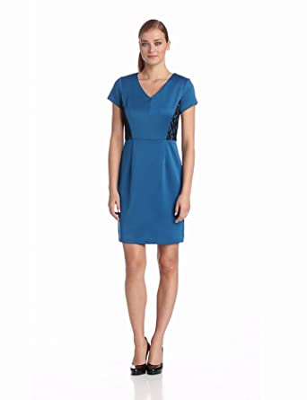 Sandra Darren Women's Short Sleeve Stretch Dress with Lace, Teal Jolly, 14