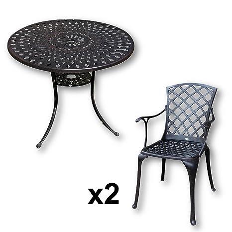 Lazy Susan - MIA 90 cm Runder Gartentisch mit 2 Stuhlen - Gartenmöbel Set aus Metall, Antik Bronze (EMMA Stuhle)