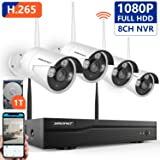 [Expandable System]1080P Security Camera System Wireless,SMONET 8CH H.265 Wireless Surveillance System with 4pcs 2.0MP Security Cameras and 1TB Hard Drive Pre-installed,P2P Home Security Camera System (Color: H.265-4pcs 1080P Cams+8CH 1080P NVR(1TB HDD))