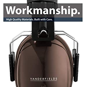 Ear Defenders Adult - Foldable Hearing Protection Ear Muffs Noise Cancelling - Perfect for DIYm Working, Shooting, Gardening - Adjustable Headband for Adults Men Women - 2 Years Warranty - Brown (Color: Brown)
