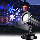 Christmas Projector Lights LED White Blue Rotating Snowflake Snowstorm Light Projector with Snowfall for Halloween Birthday Wedding Theme Party Garden Home Winter Outdoor Indoor Decor (Color: Blue/White)