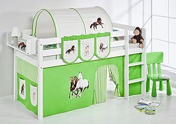Lilo Kids gioco letto JELLE Cavalli verde Beige-letto a soppalco-bianco-con tenda
