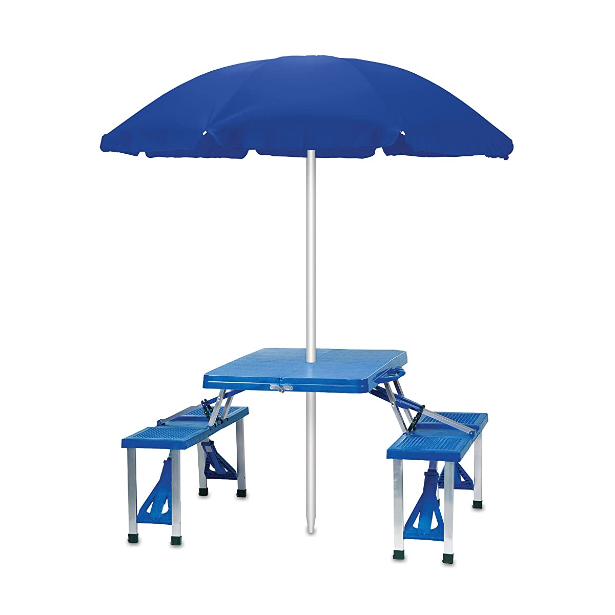 Picnic Time Portable Folding Picnic Table with Seating for 4, Blue