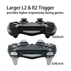 TOMSIN Metal Buttons for PS4 Slim/ PS4 Pro Controller, Aluminum Metal Thumbsticks Analog Grip & Bullet Buttons & D-pad & L1 R1 L2 R2 Trigger for PS4 Controller Gen 2 (Metal Silver) (Color: Silver)