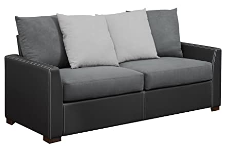 Dorel Living Faux Leather Bristol Sofa with 4 Back Pillows, Black/Gray/White