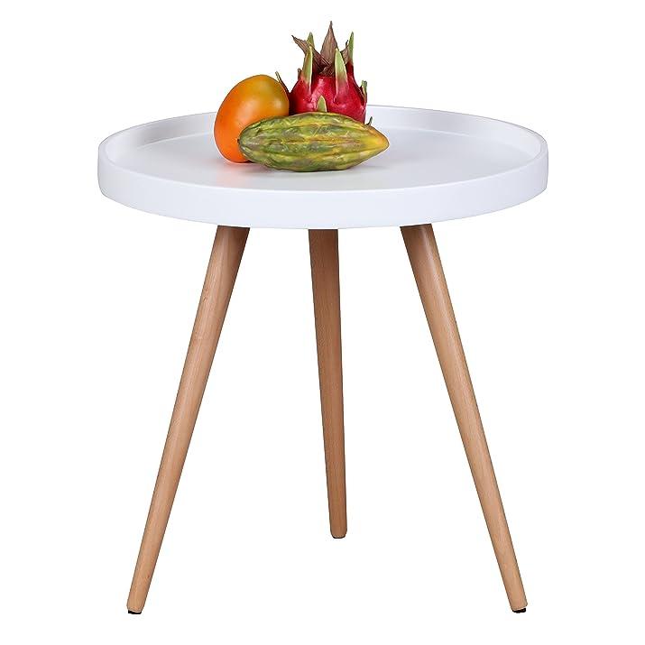 Wohnling motivo Tavolino Scanio Ø50cm H50cm in fibra di legno Colour Bianco Opaco e gambe in legno di faggio WL1, 695