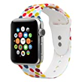 Sport Band For Apple Watch,Choose Proper Color & Size-38MM S/M,38MM M/L,42MM S/M or 42MM M/L,Floraler Soft Silicone Strap Replacement Wristbands For Apple Watch Sport Series 3/2/1 (Color: Floral-18, Tamaño: 42MM S/M)