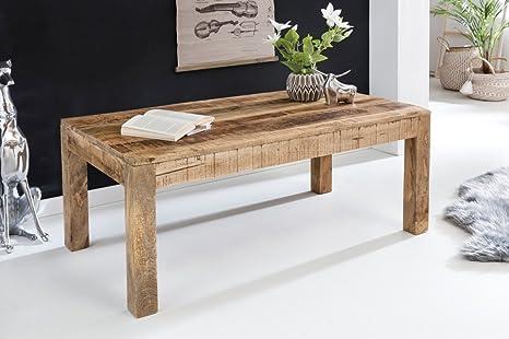 FineBuy Couchtisch RUSTI 110 x 60 x 47 cm Massiv-Holz Mango Natur | Landhaus-Stil Wohnzimmertisch Rustikal Kaffeetisch | Massivholztisch Wohnzimmer