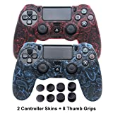 Silicone Cover for PS4 Controller - DualShock 4 Skin Water Printed Protector Case Set for Sony PS4, PS4 Slim, PS4 Pro - 2 Pack Leaf PS4 Controller Skins - 4 Pairs PS4 Thumb Grips - Red & Blue (Color: Leaf Red+Blue)