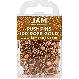 JAM PAPER Colorful Push Pins - Rose Gold Pushpins - 100/Pack (Color: Rose Gold, Tamaño: 100 Pack)
