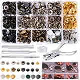 Caydo 140 Sets 8 Color Snaps Fastener Kit 12.5mm Metal Snaps Button Press Studs Clothing Snaps Kit with 4 Pcs Fixing Tools and 1 Pcs Punch Pliers for Leather, Coat, Down Jacket, Jeans Wear and Wallet (Color: Grey)