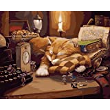 Komking DIY Oil Painting Paint by Numbers for Adults Beginner, Paint by Number Kit Painting on Canvas 16x20inch with Wooden Frame - Sleeping Cat Pattern (Color: Lazy Cat Framed)