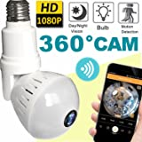 2018 Upgrade Bulb WiFi IP Camera Wireless Fisheye Spy Hidden Cameras 360 Panoramic for Home Security System Baby Nanny Pet Indoor Night Vision Motion Detection Alarm Christmas Holiday Smart Home Gifts