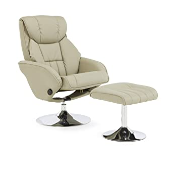 Larvik Faux Leather Swivel and Recliner Chair With Chrome Base