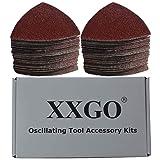 XXGO 100 Pcs 60 Grits 3-1/2 Inch 90mm Triangular Hook & Loop Multitool Sandpaper for Wood Sanding Fit 3.5 Inch Oscillating Multi Tool Sanding Pad XG902060 (Color: Reddish Brown)