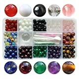 Chengmu 8mm Stone Beads Kit for Jewelry Making 230pcs Natural Gemstone Amethyst lapis Agate Onyx Crystal Tiger Eye Assorted Color Round Loose Beads Set for Bracelet Necklace With Accessories Color 1 N (Color: 8mm Stone Beads kit Color 1 N, Tamaño: 8mm)
