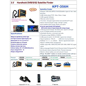 Satellite Finder, KKmoon KPT-356H 3.5 Inch Handheld Multifunctional DVB-S/S2 Satellite Finder Fast Tracking Full HD Digital Satellite TV Receiver Finder Meter MPEG4 Modulator with Remote Control (Color: yellow+blue)
