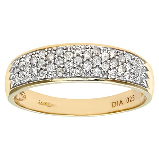 Naava 9ct Yellow Gold 0.25ct Diamond Pave Ring
