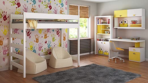 Loft Beds For Kids Children Juniors+Mattress 140x70/160x80/180x80/180x90/200x90 Comes with 10cm Foam Mattress and Ladder on the Side (Short Edge) (160x80, White)